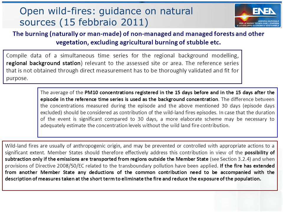 Open wild-fires: guidance on natural sources (15 febbraio 2011)