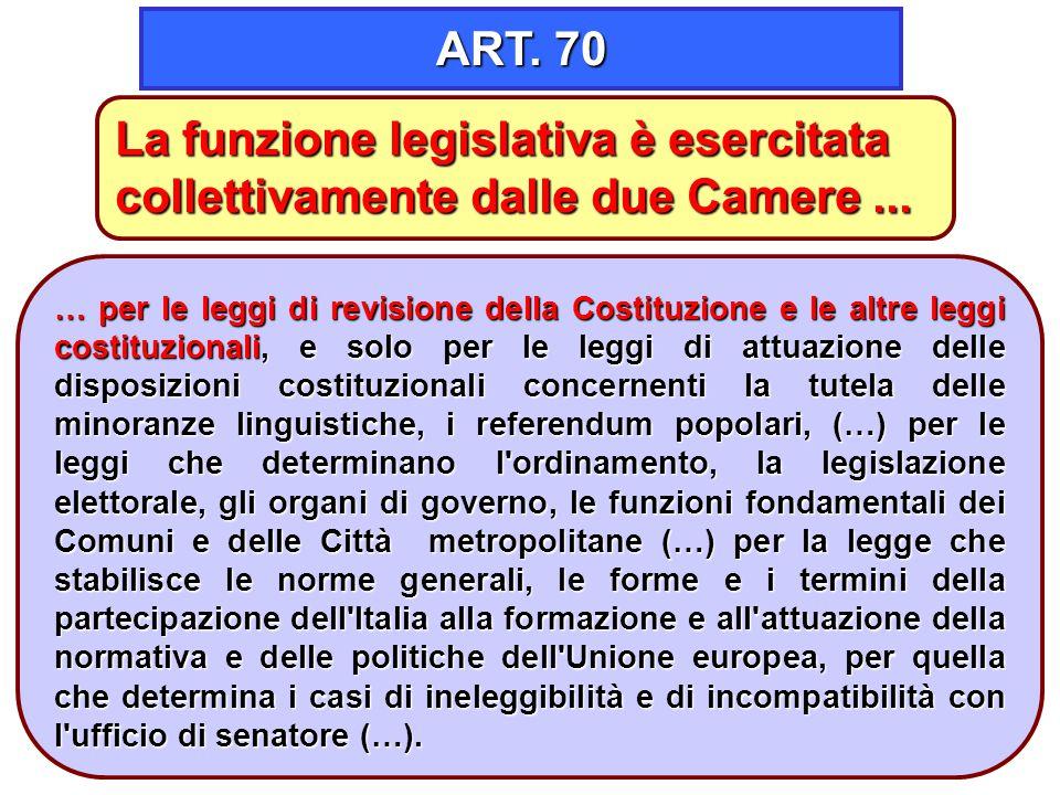 ART. 70 La funzione legislativa è esercitata collettivamente dalle due Camere ...