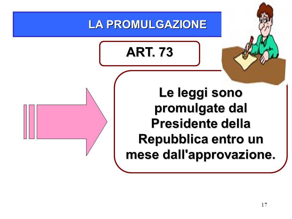 LA PROMULGAZIONE ART. 73.