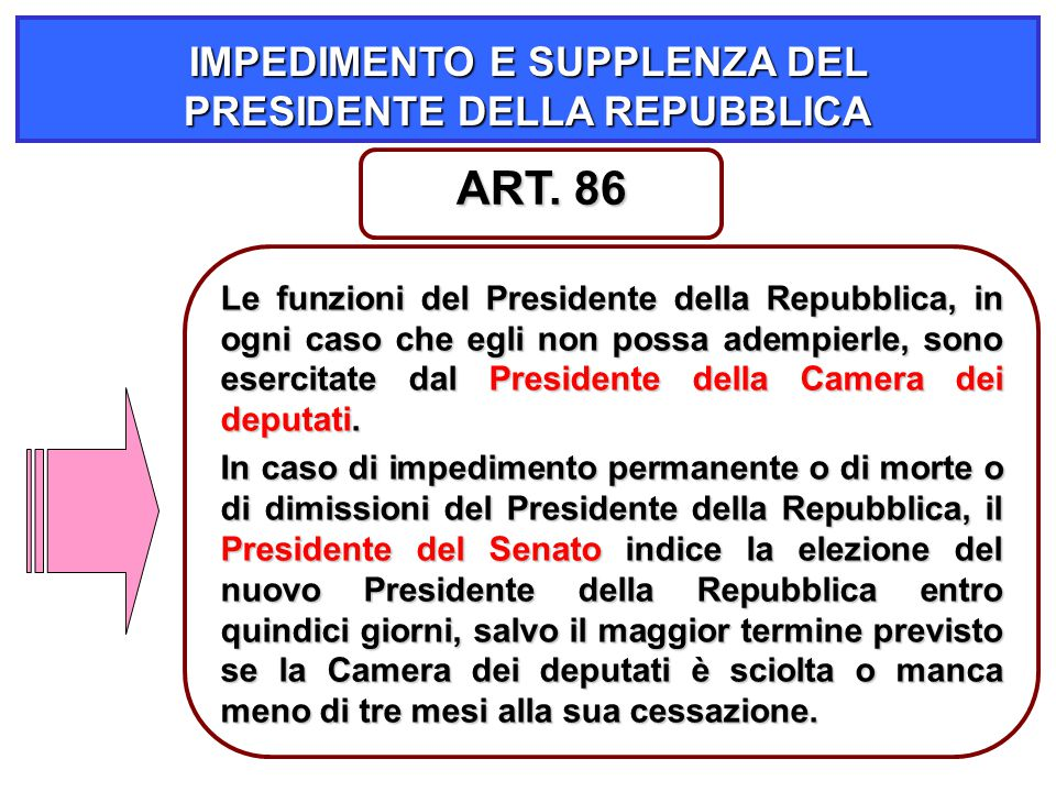 IMPEDIMENTO E SUPPLENZA DEL PRESIDENTE DELLA REPUBBLICA