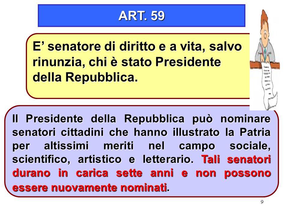 ART. 59 E' senatore di diritto e a vita, salvo rinunzia, chi è stato Presidente della Repubblica.