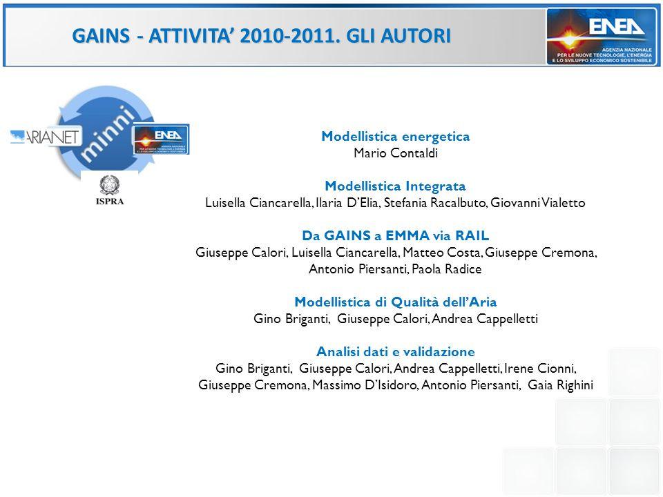 GAINS - ATTIVITA' 2010-2011. GLI AUTORI