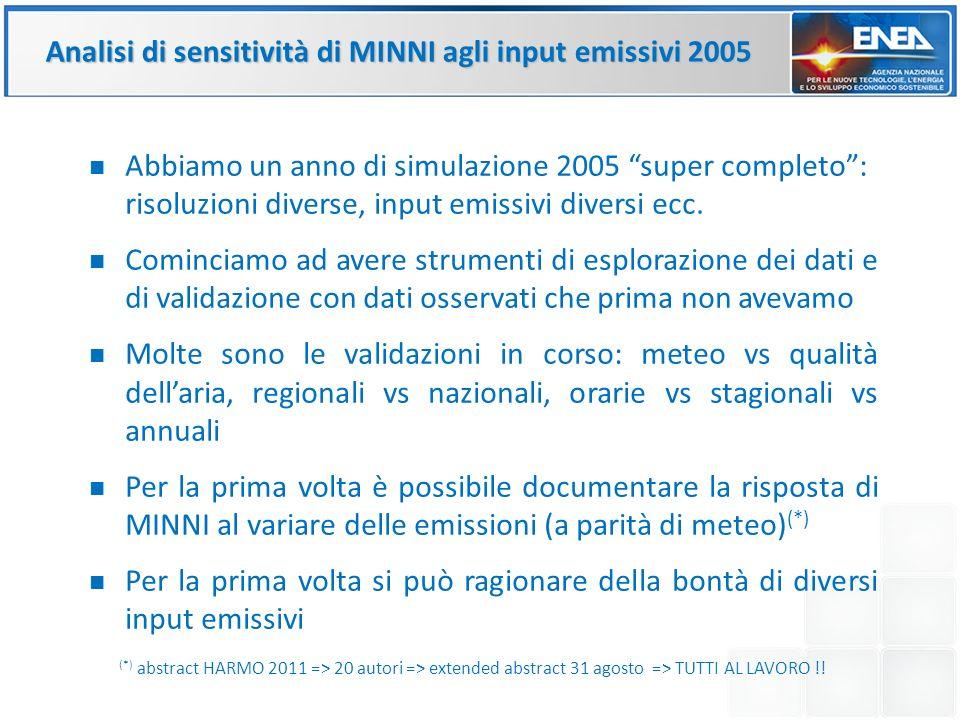 Analisi di sensitività di MINNI agli input emissivi 2005