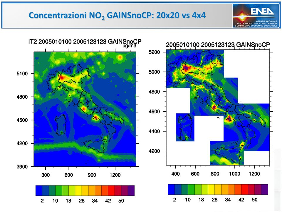 Concentrazioni NO2 GAINSnoCP: 20x20 vs 4x4