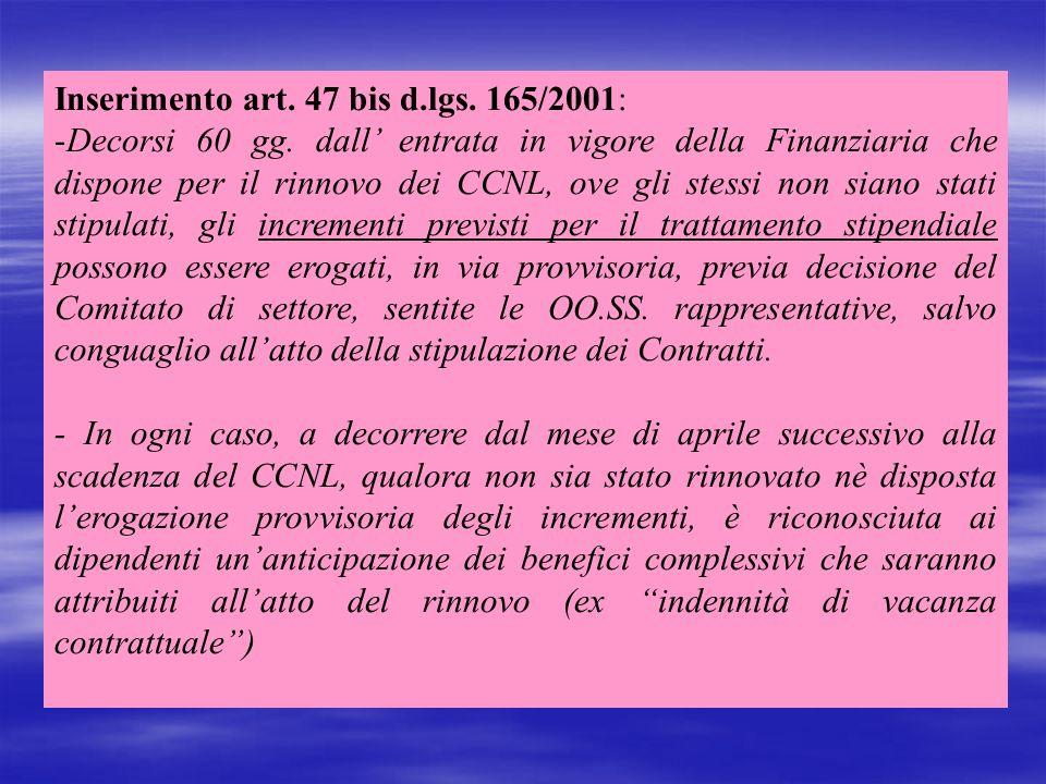 Inserimento art. 47 bis d.lgs. 165/2001: