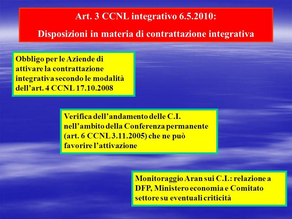 Disposizioni in materia di contrattazione integrativa