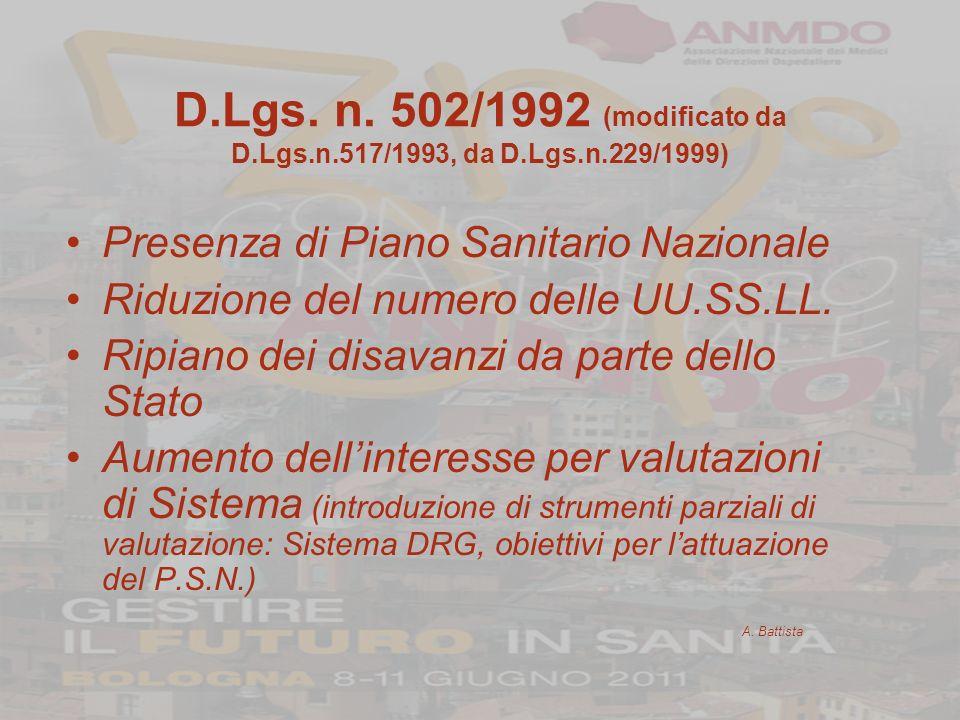 D. Lgs. n. 502/1992 (modificato da D. Lgs. n. 517/1993, da D. Lgs. n