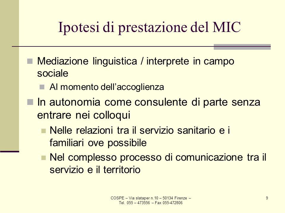 Ipotesi di prestazione del MIC