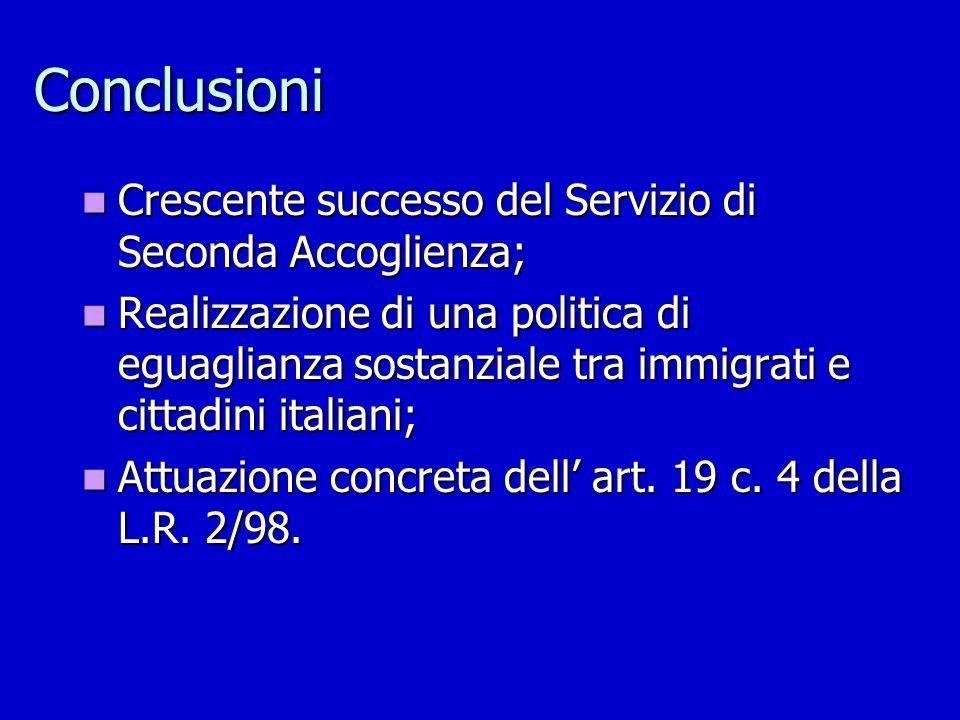 Conclusioni Crescente successo del Servizio di Seconda Accoglienza;