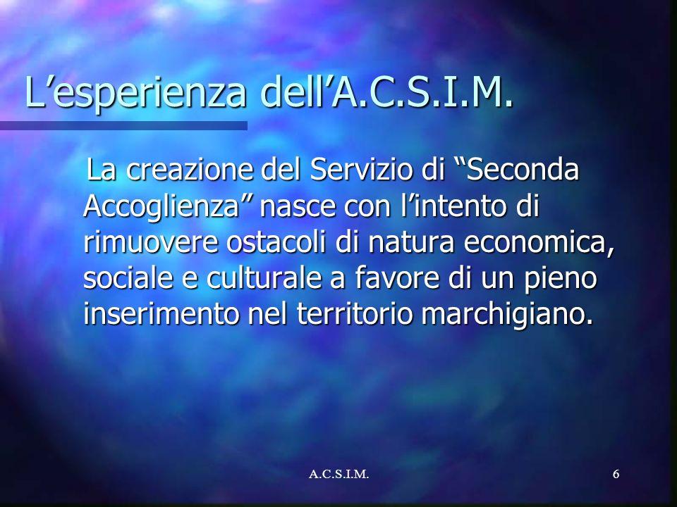 L'esperienza dell'A.C.S.I.M.