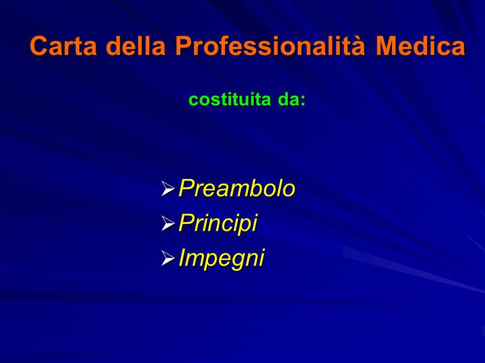 Carta della Professionalità Medica costituita da: