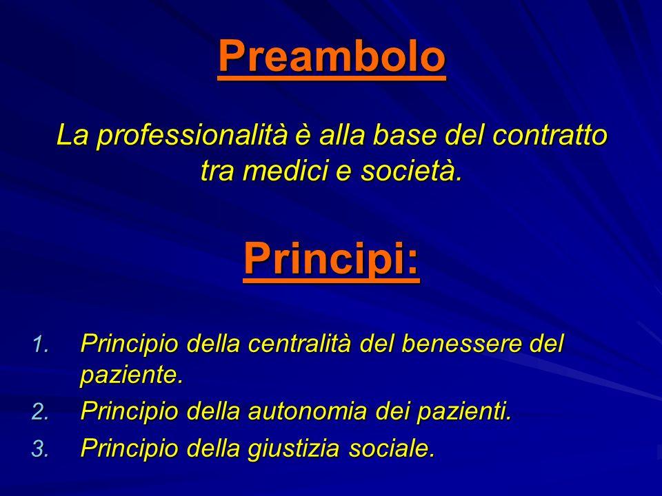 Preambolo La professionalità è alla base del contratto tra medici e società.