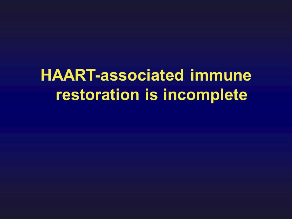 HAART-associated immune restoration is incomplete