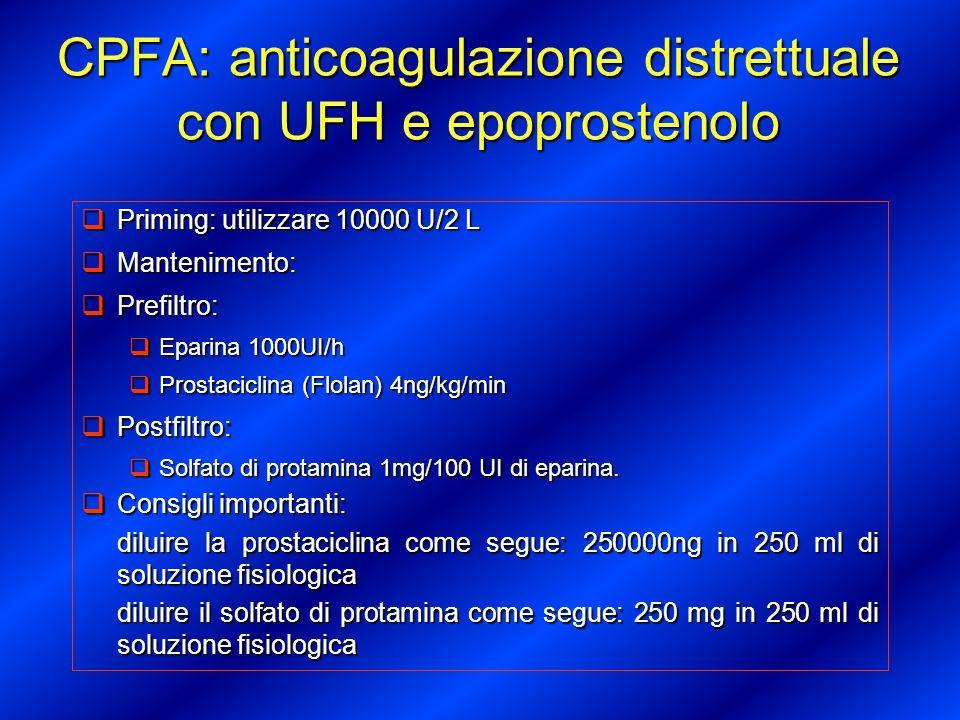 CPFA: anticoagulazione distrettuale con UFH e epoprostenolo