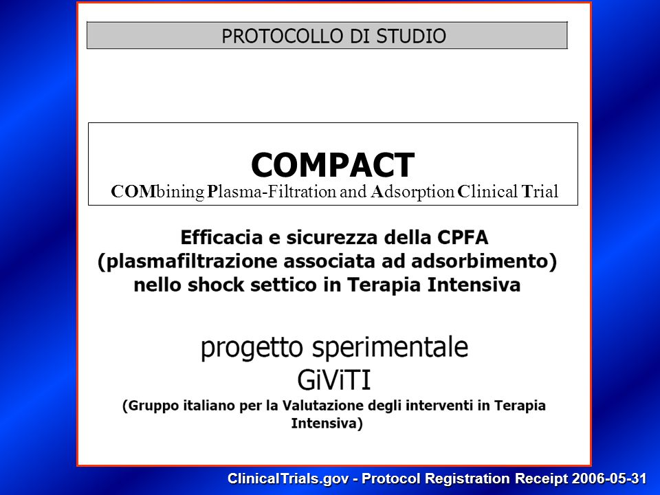 ClinicalTrials.gov - Protocol Registration Receipt 2006-05-31