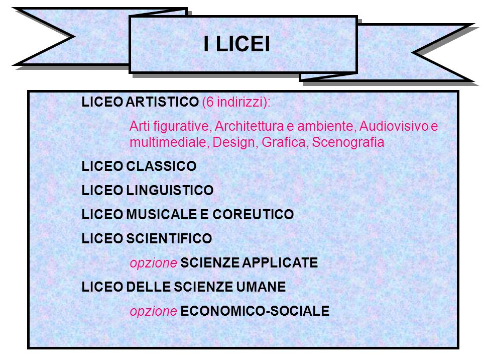 I LICEI LICEO ARTISTICO (6 indirizzi):