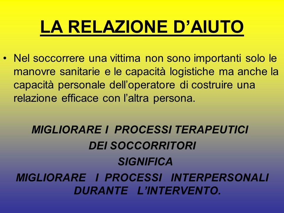 MIGLIORARE I PROCESSI INTERPERSONALI DURANTE L'INTERVENTO.
