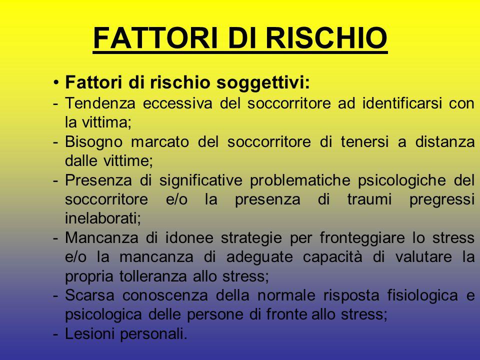 FATTORI DI RISCHIO Fattori di rischio soggettivi: