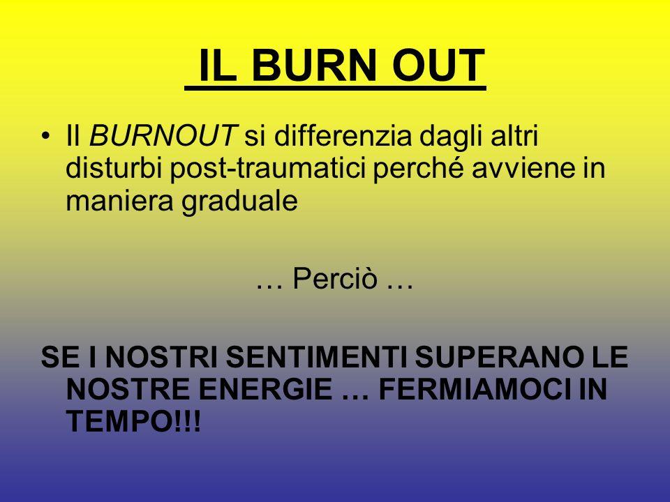 IL BURN OUT Il BURNOUT si differenzia dagli altri disturbi post-traumatici perché avviene in maniera graduale.