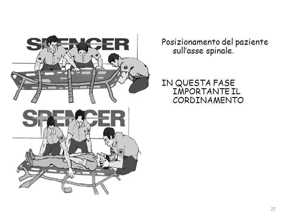 Posizionamento del paziente sull'asse spinale.