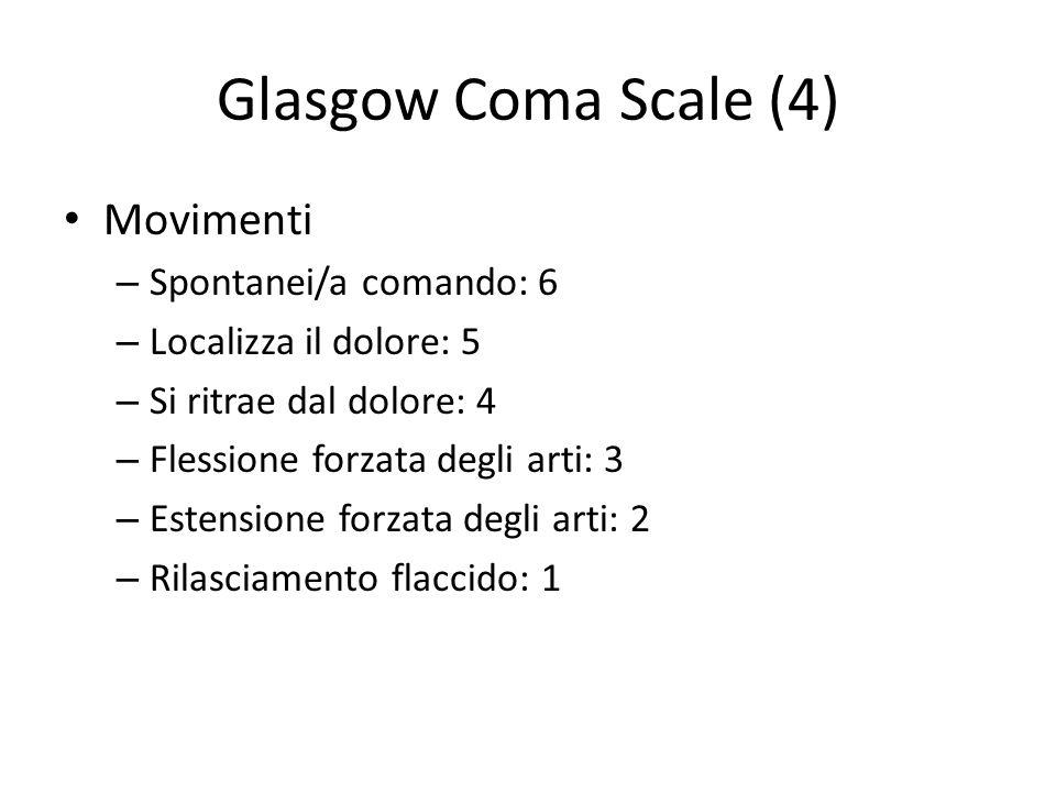 Glasgow Coma Scale (4) Movimenti Spontanei/a comando: 6