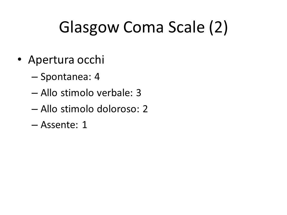 Glasgow Coma Scale (2) Apertura occhi Spontanea: 4