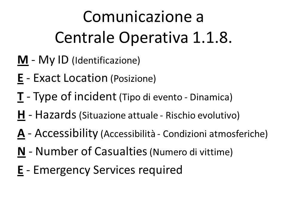 Comunicazione a Centrale Operativa 1.1.8.