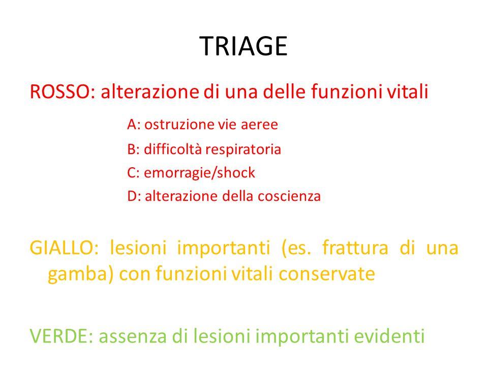 TRIAGE ROSSO: alterazione di una delle funzioni vitali