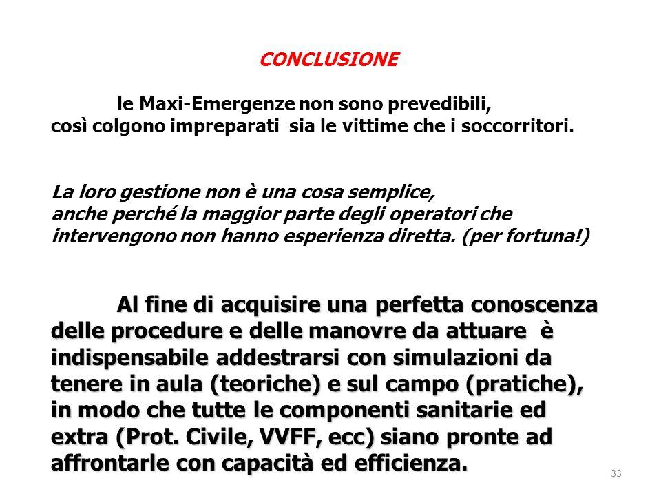 CONCLUSIONE le Maxi-Emergenze non sono prevedibili, così colgono impreparati sia le vittime che i soccorritori.