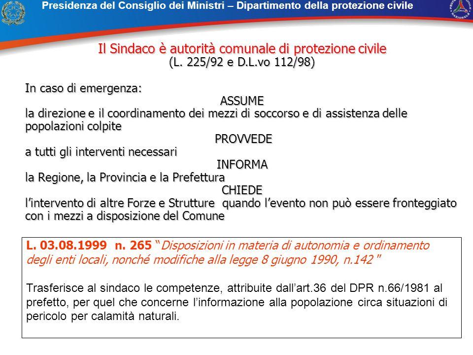 Il Sindaco è autorità comunale di protezione civile