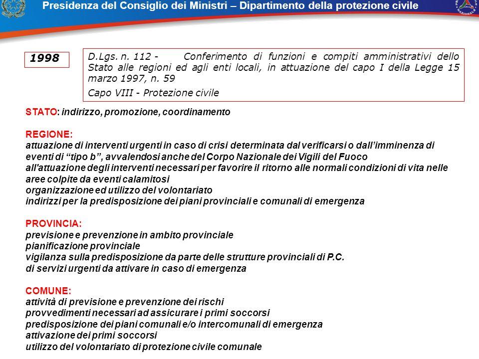 Presidenza del Consiglio dei Ministri – Dipartimento della protezione civile