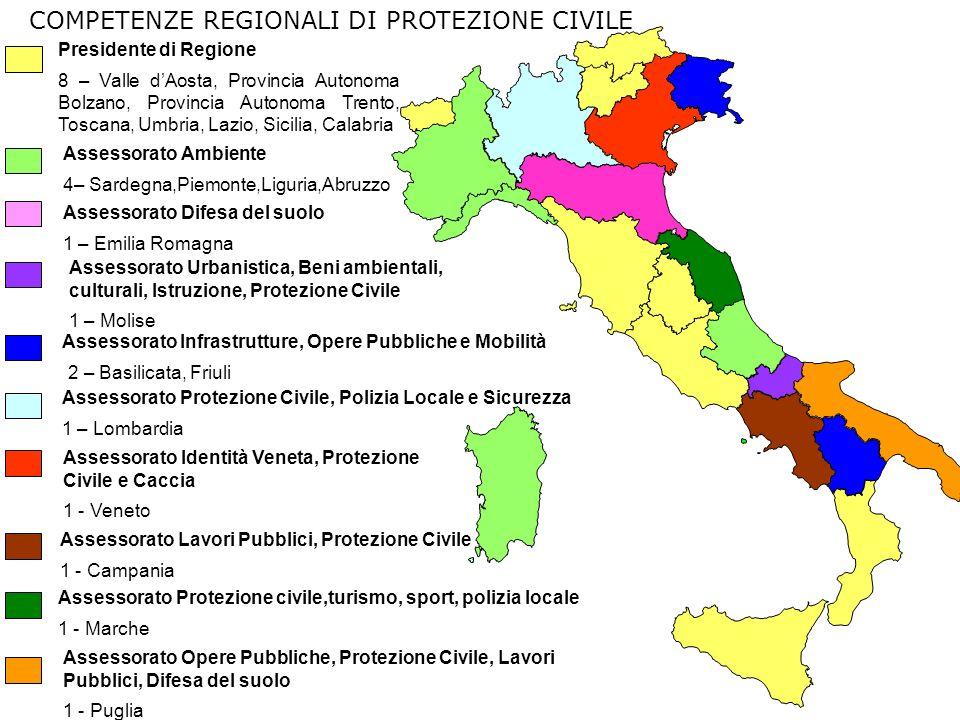 COMPETENZE REGIONALI DI PROTEZIONE CIVILE