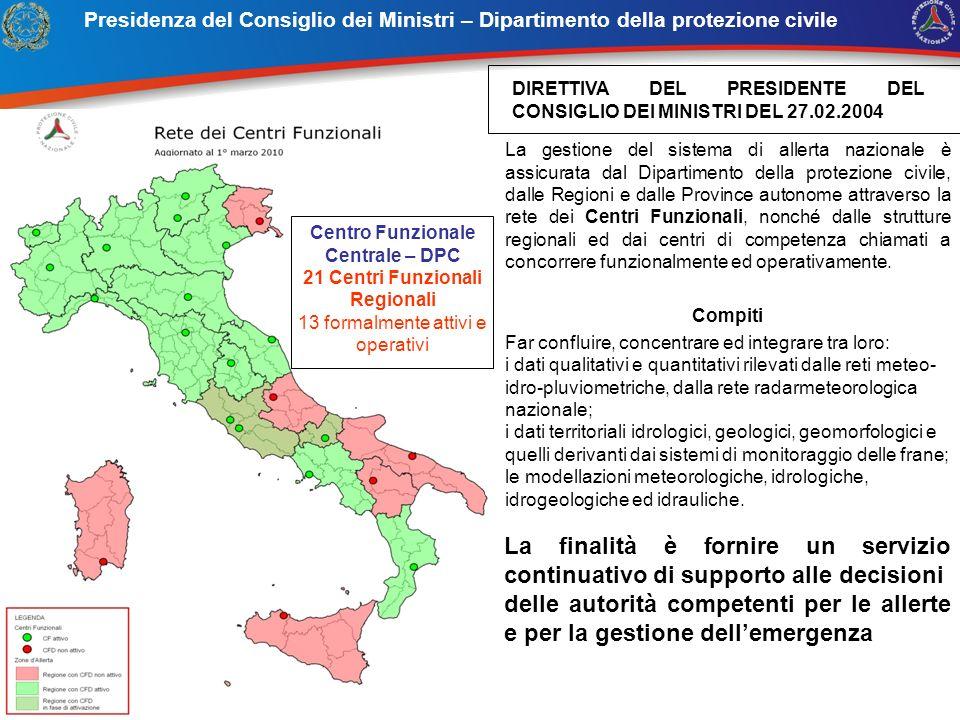 Centro Funzionale Centrale – DPC 21 Centri Funzionali Regionali