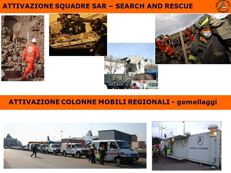 ATTIVAZIONE SQUADRE SAR – SEARCH AND RESCUE