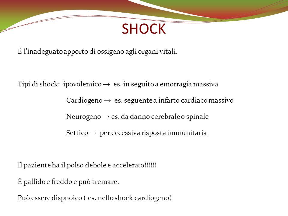 SHOCK È l'inadeguato apporto di ossigeno agli organi vitali.