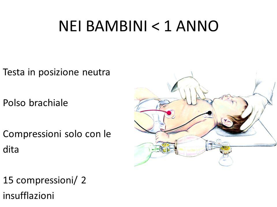 NEI BAMBINI < 1 ANNO Testa in posizione neutra Polso brachiale Compressioni solo con le dita 15 compressioni/ 2 insufflazioni