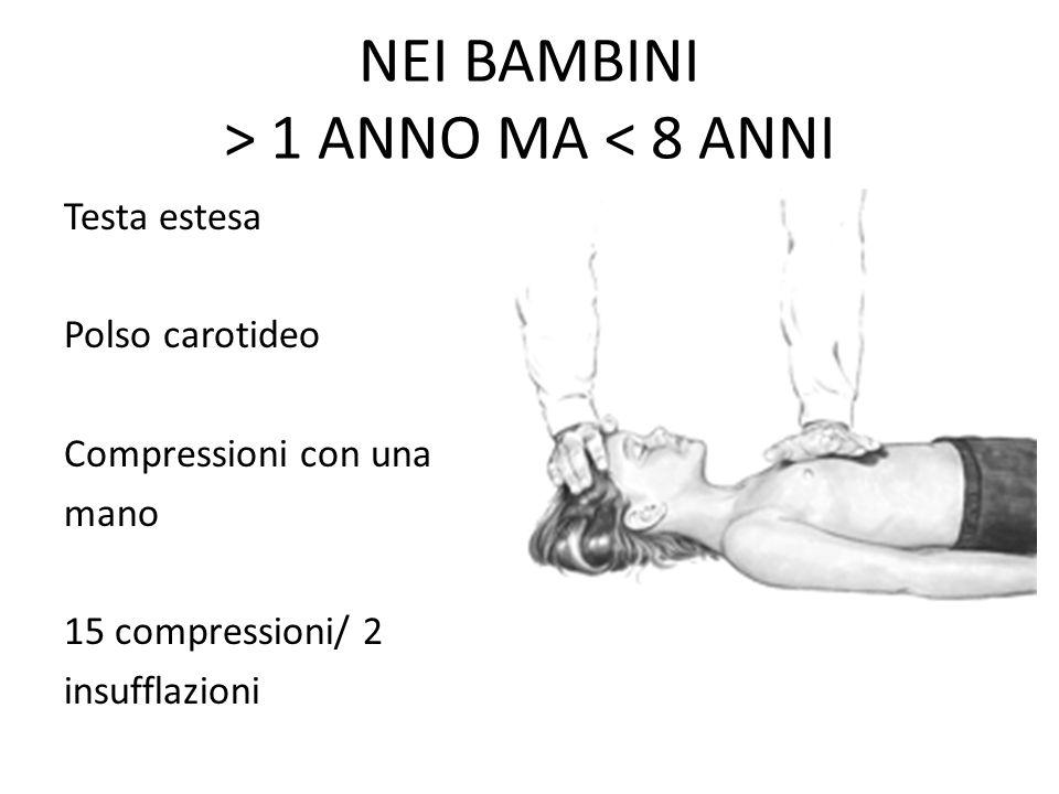 NEI BAMBINI > 1 ANNO MA < 8 ANNI