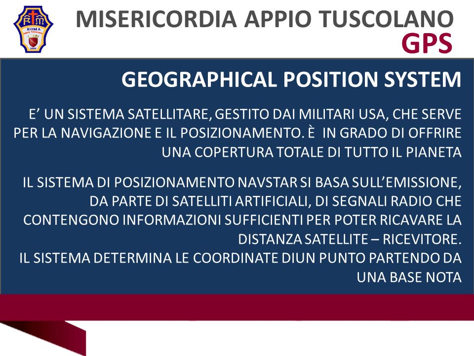 GPS MISERICORDIA APPIO TUSCOLANO GEOGRAPHICAL POSITION SYSTEM