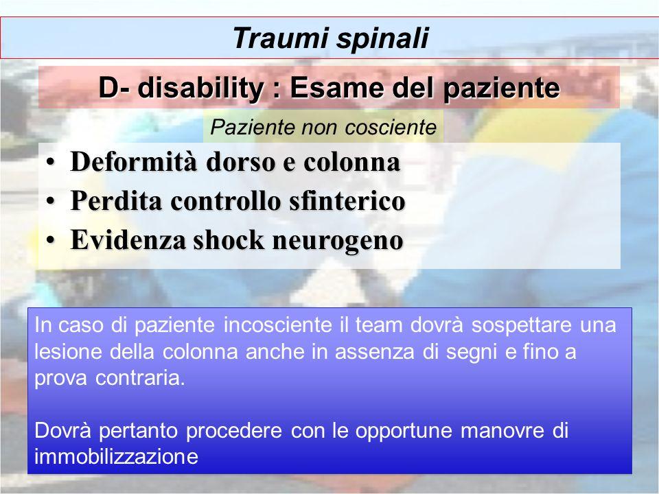 D- disability : Esame del paziente
