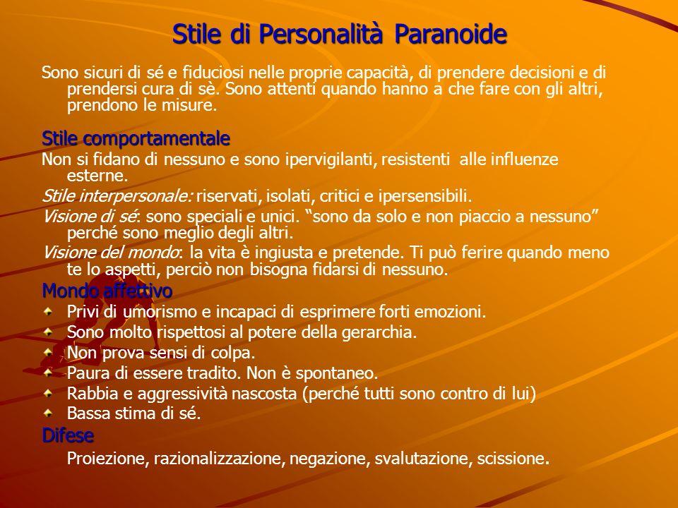 Stile di Personalità Paranoide