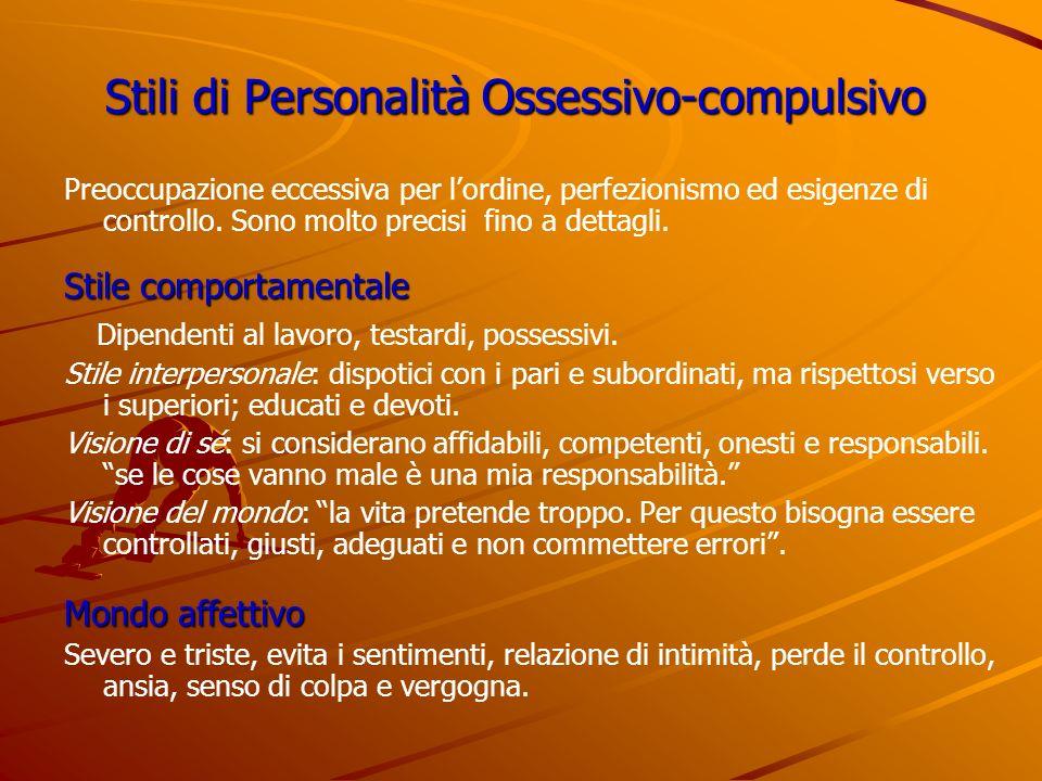 Stili di Personalità Ossessivo-compulsivo