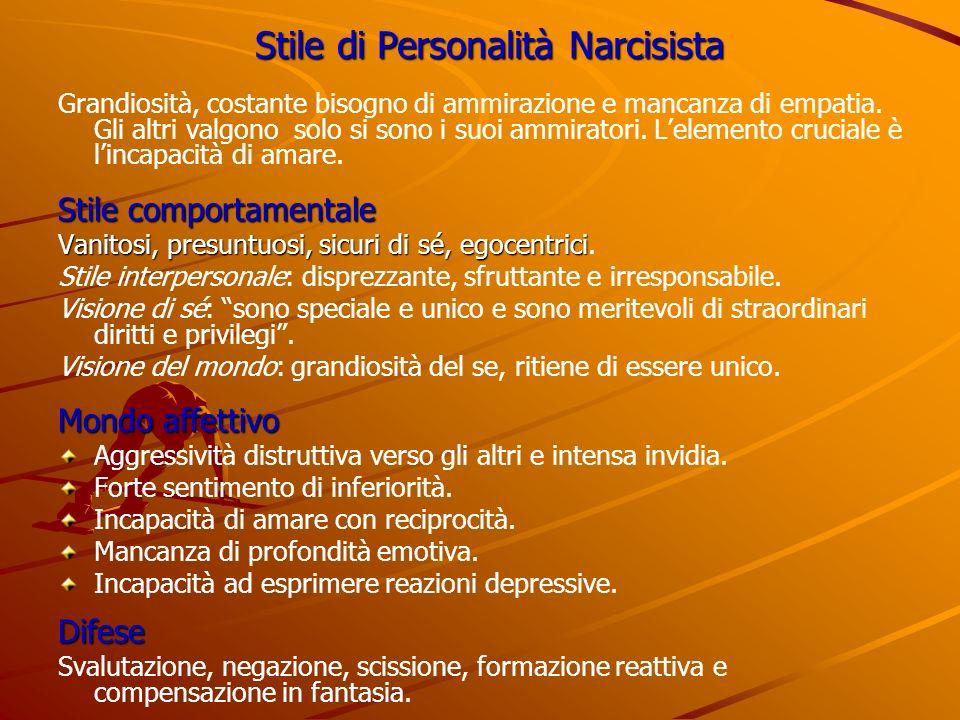 Stile di Personalità Narcisista