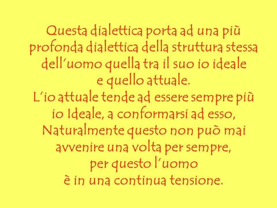 Questa dialettica porta ad una più profonda dialettica della struttura stessa dell'uomo quella tra il suo io ideale e quello attuale.