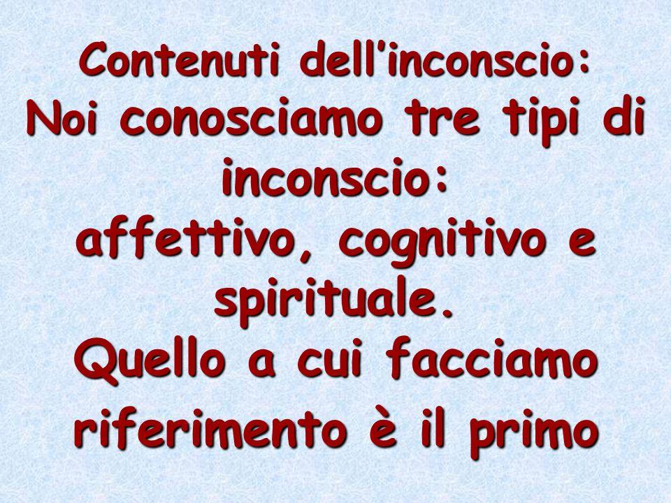 Contenuti dell'inconscio: Noi conosciamo tre tipi di inconscio: affettivo, cognitivo e spirituale.