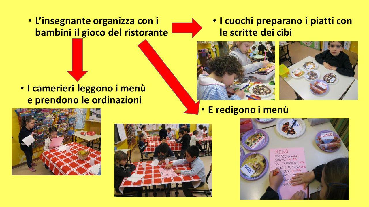 L'insegnante organizza con i bambini il gioco del ristorante