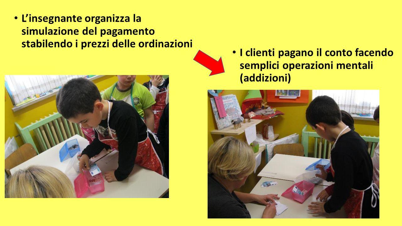 L'insegnante organizza la simulazione del pagamento stabilendo i prezzi delle ordinazioni