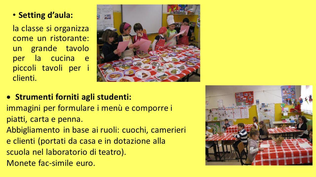 Setting d'aula: la classe si organizza come un ristorante: un grande tavolo per la cucina e piccoli tavoli per i clienti.