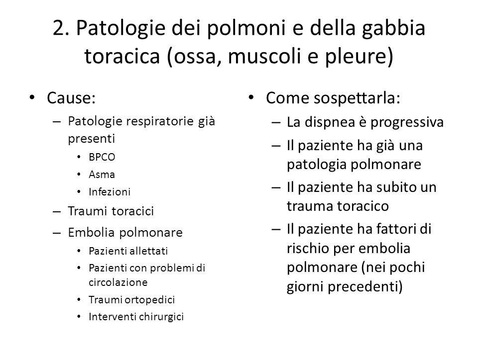 2. Patologie dei polmoni e della gabbia toracica (ossa, muscoli e pleure)