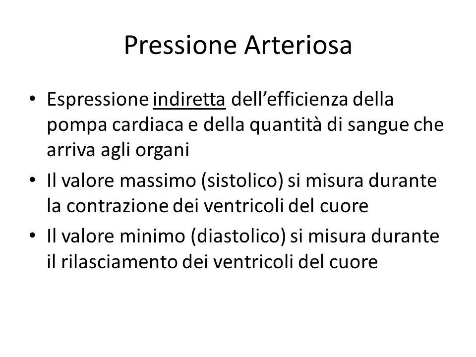 Pressione Arteriosa Espressione indiretta dell'efficienza della pompa cardiaca e della quantità di sangue che arriva agli organi.