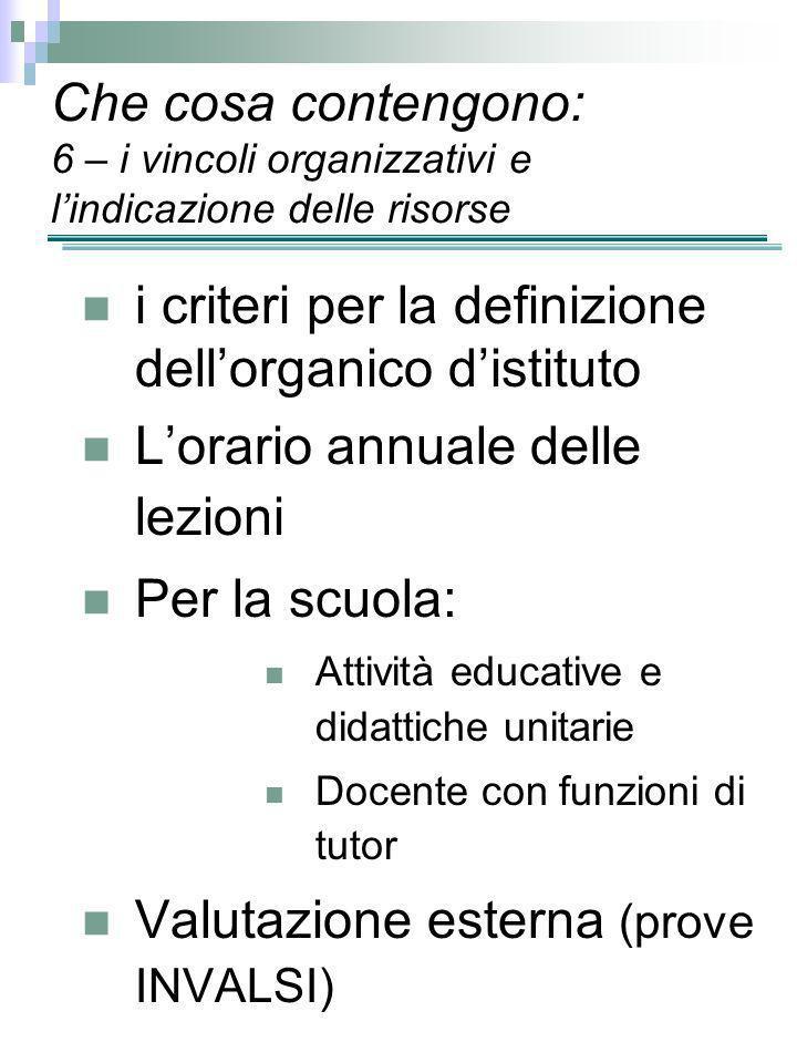 i criteri per la definizione dell'organico d'istituto